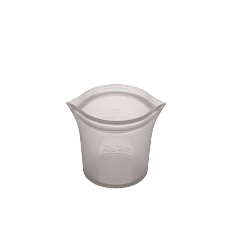 Zip Top Platinum Silicone Short Cup Container 266ml Grey