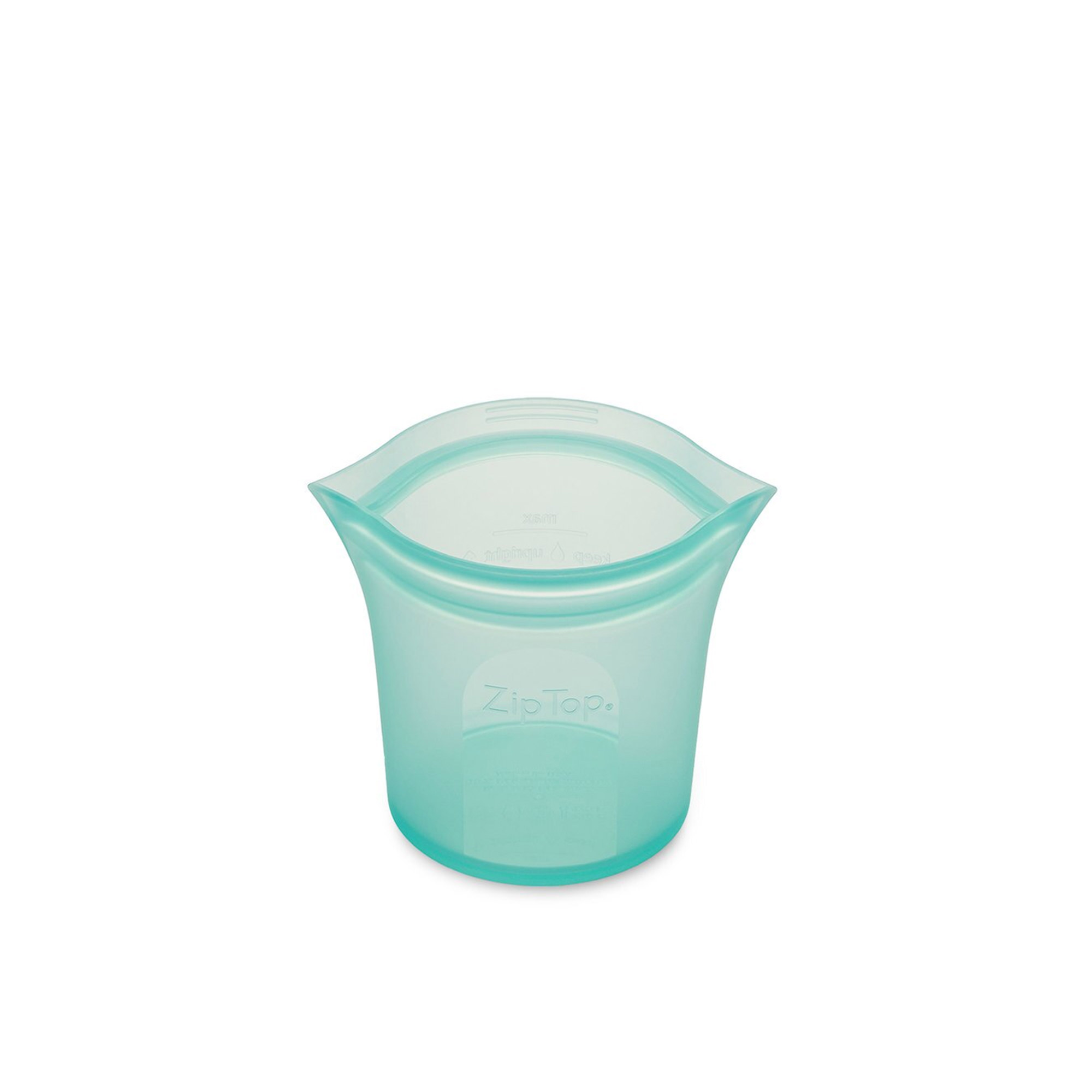 Zip Top Platinum Silicone Short Cup Container 266ml Teal