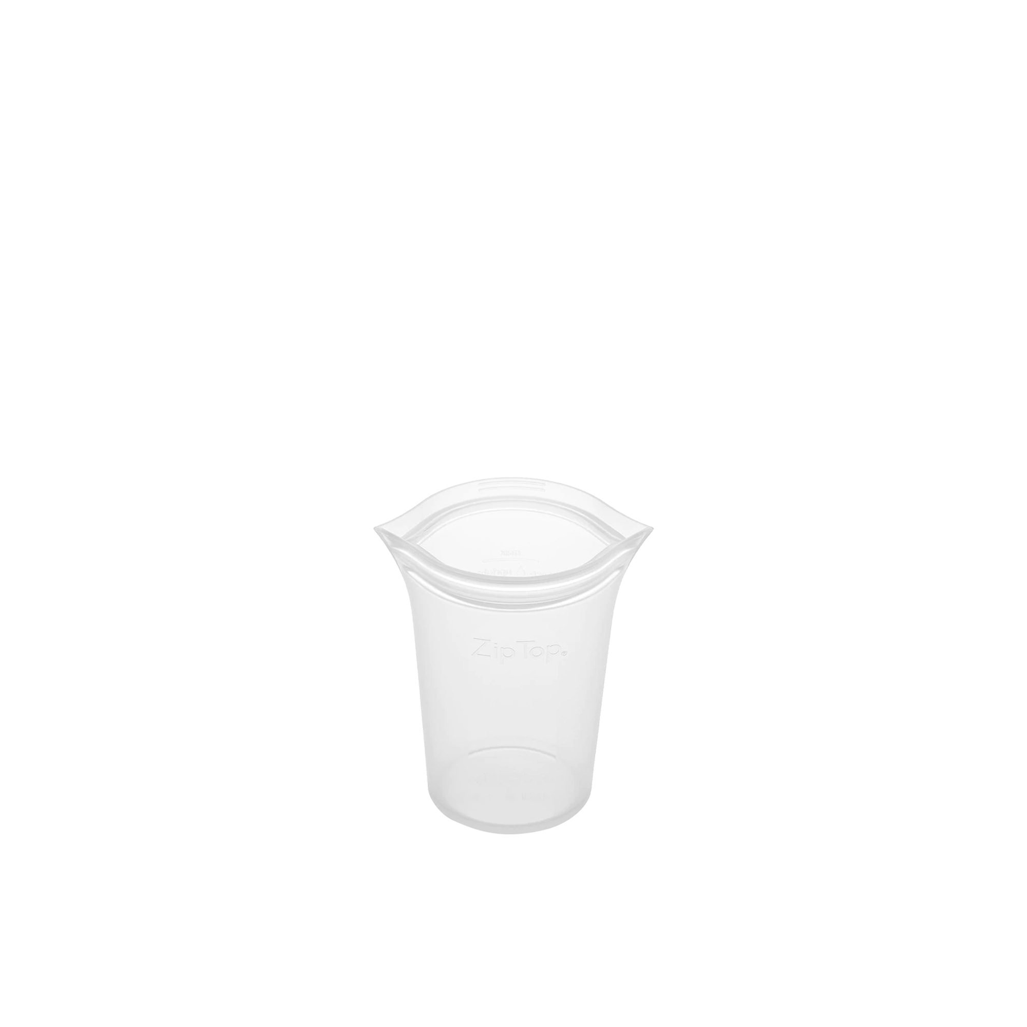 Zip Top Platinum Silicone Small Cup Container 237ml Clear