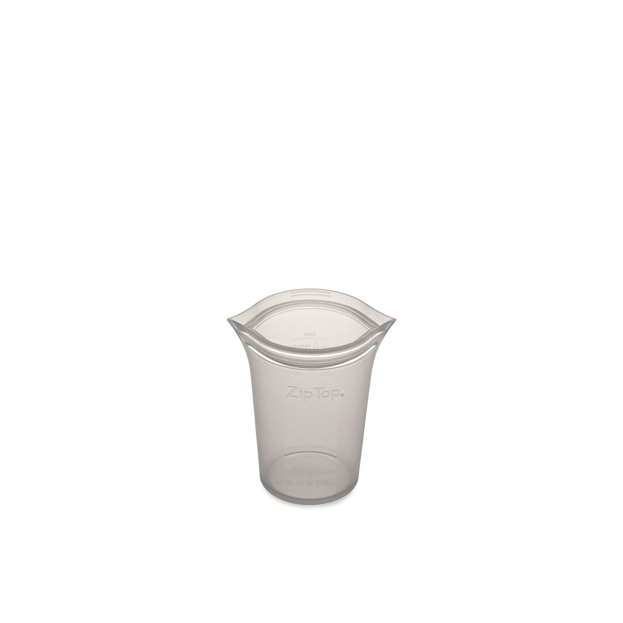 Zip Top Platinum Silicone Small Cup Container 237ml Grey