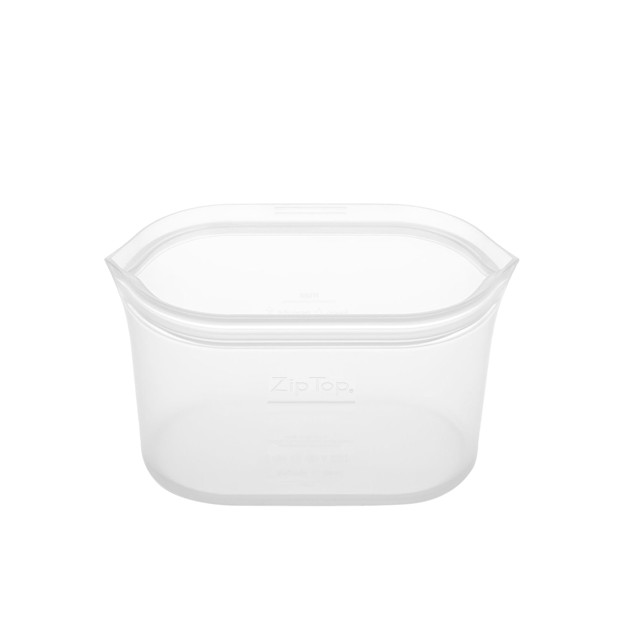 Zip Top Platinum Silicone Small Dish Container 473ml Clear
