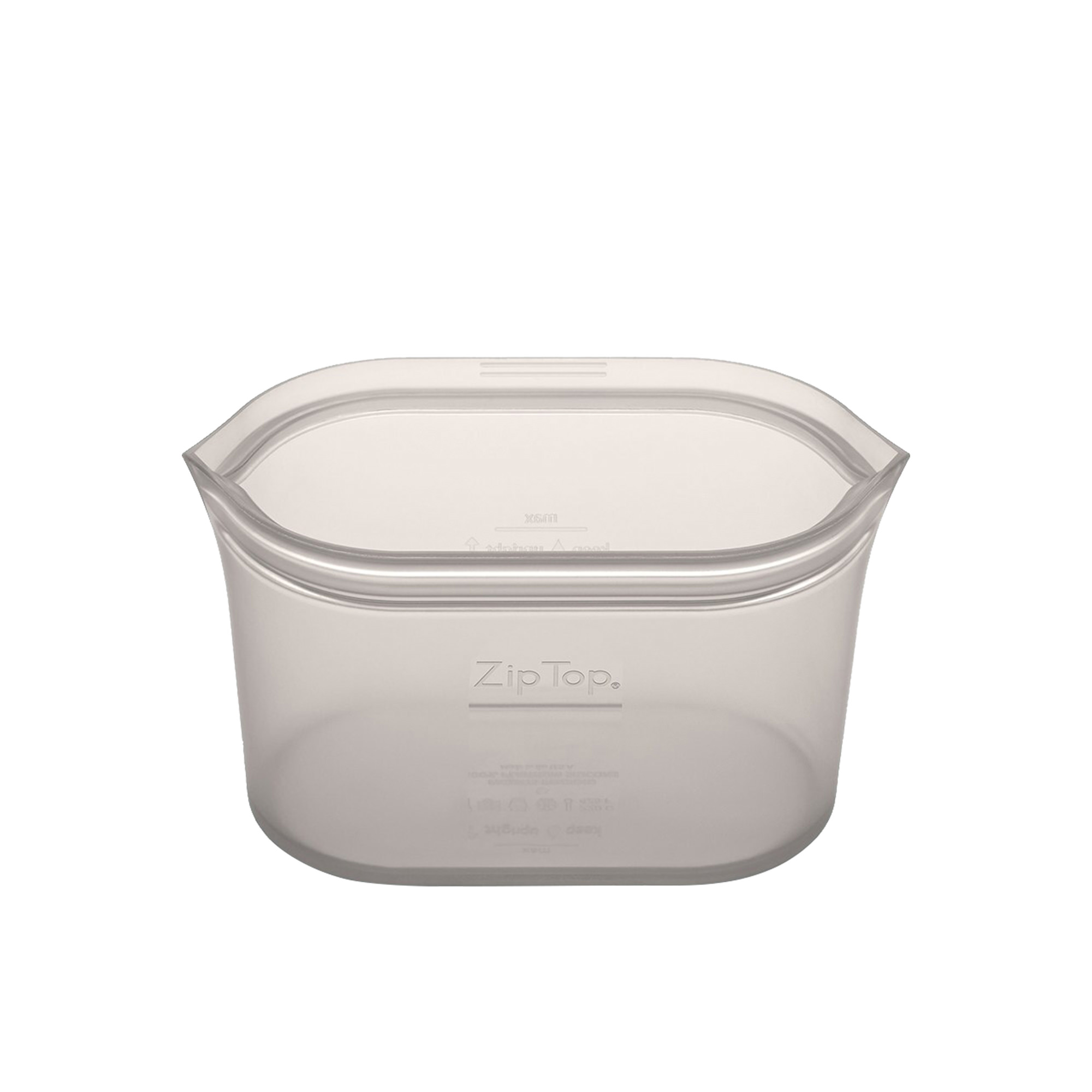Zip Top Platinum Silicone Small Dish Container 473ml Grey