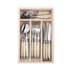 Laguiole by Andre Verdier Debutant <b>Cutlery</b> Set 24pc Ivory