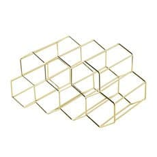 Bartender Hexagonal <b>Wine</b> Rack 9 Bottle Gold