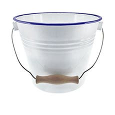 Falcon Enamel Bucket with Lid White/Blue Rim