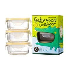 Glasslock Rectangular Baby Food Container 3pc Set 150ml