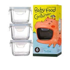 Glasslock Square Baby Food <b>Container</b> 3pc Set 210ml