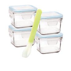 Glasslock Square Baby Food Container 5pc Set w/ Spoon 210ml