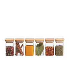 Kitchen Pro Eco 6pc Square Glass Spice Canister Set 140ml w/ Bamboo Lid