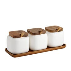 Ladelle Canister & Spoon Set with Base White