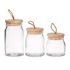 Pantry Round Glass Storage Canister w/ Wooden Lid Set of 3