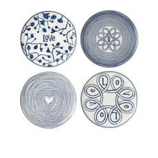 Royal Doulton Ellen DeGeneres Blue Love Accents <b>Dinner</b> Plate Set of 4