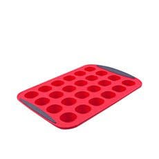 Daily Bake Silicone Mini Muffin Pan 24 Cup Red