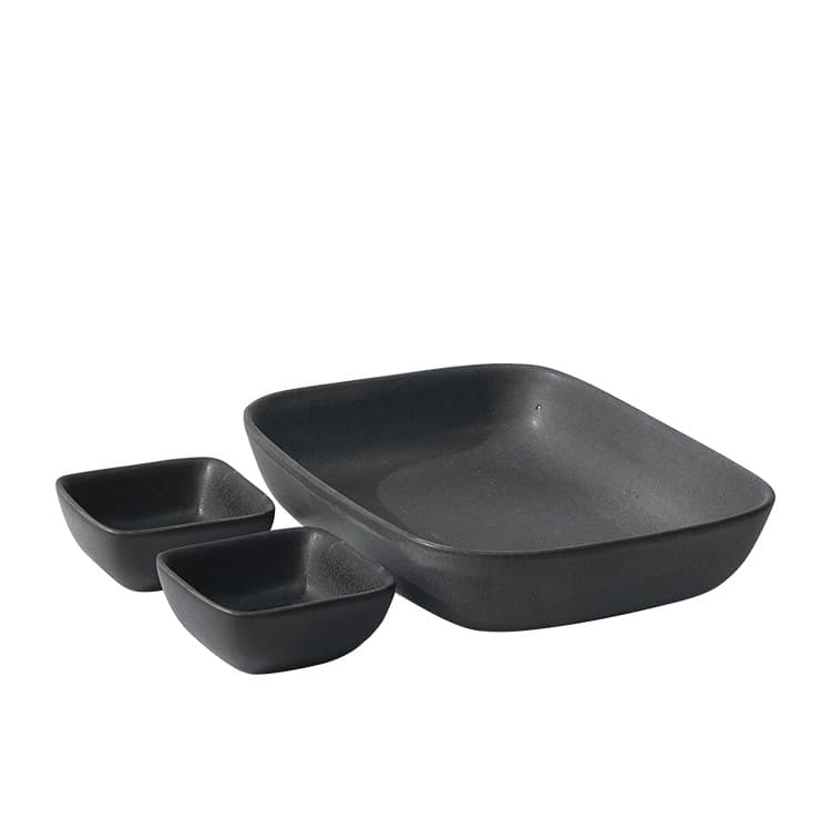 Salt & Pepper Major 3pc Rectangular Serving Set Black